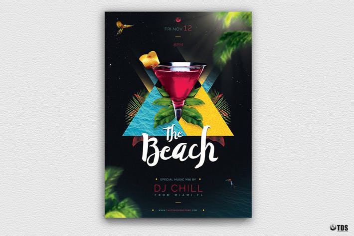 Night at The Beach Flyer Template