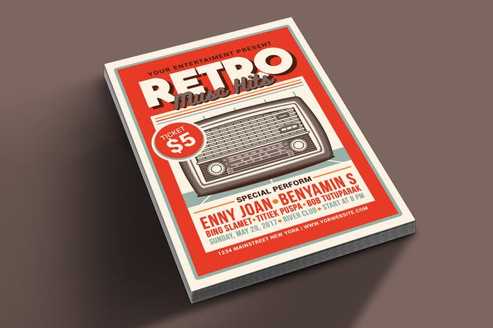 Retro Music Hits Flyer