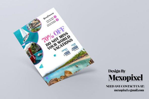 Travel Tour and Vacation Flyer PSD Template