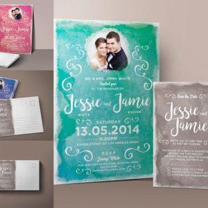 Watercolor Wedding Invitation & RSVP
