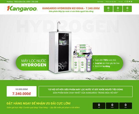 Website giới thiệu máy lọc nước Kangaroo Hydrogen
