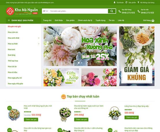 website Cửa hàng bán hoa
