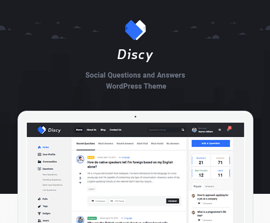 Discy - Social Questions and Answers WordPress Theme