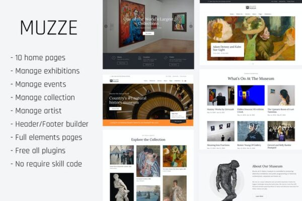 Muzze - Museum Art Gallery Exhibition WP Themes 1