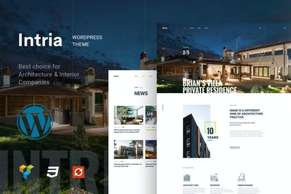 Intria - Architecture and Interior WordPress Theme 1