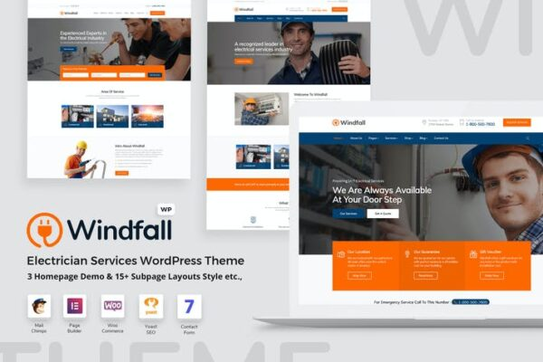 Windfall - Electrician Services WordPress Theme 1
