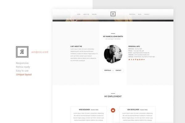 RIVAL One Page Vcard Wordpress Theme 1