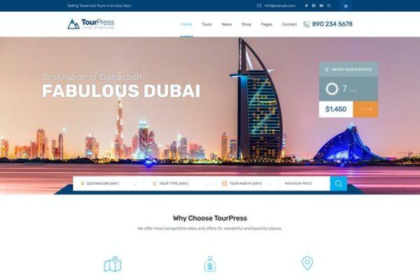 TourPress - Travel Booking WordPress Theme 1