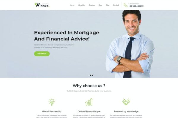 Winnex - Business Consulting WordPress Themes 1