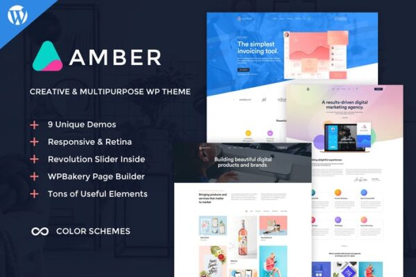 Amber Six - Creative WordPress Theme 1