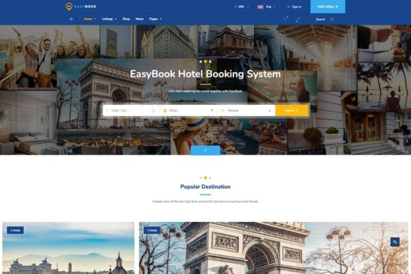 EasyBook – Hotel & Tour Booking WordPress Theme 1