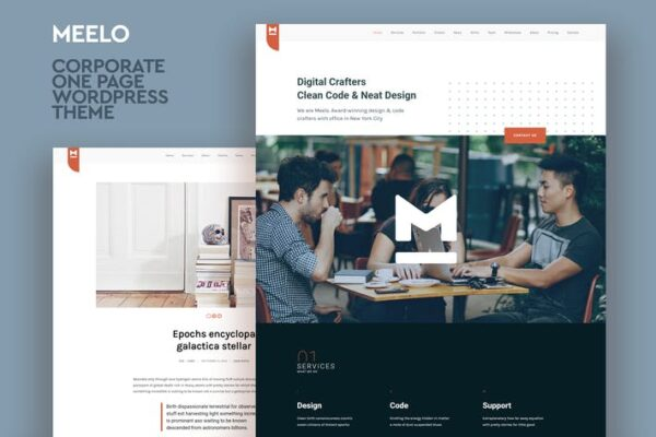 Meelo - Corporate One Page WordPress Theme 1