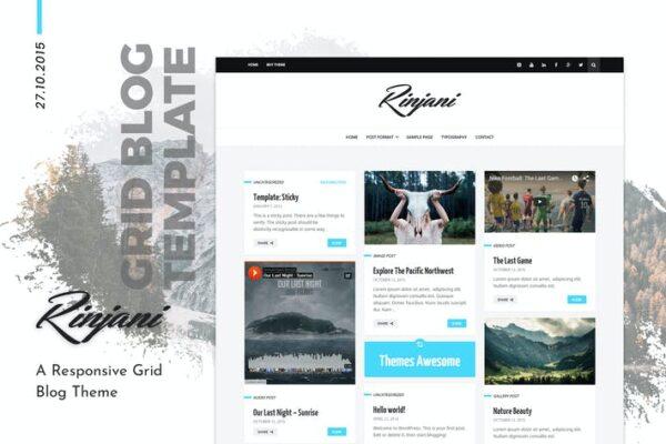 Personal Grid Blog WordPress Theme - Rinjani 1
