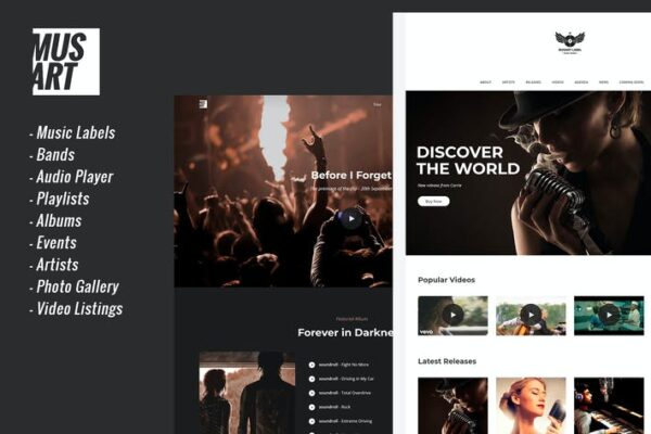 Musart - Music Label and Artists WordPress Theme 1
