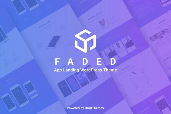 Faded - Mobile App Landing Page WordPress Theme 1