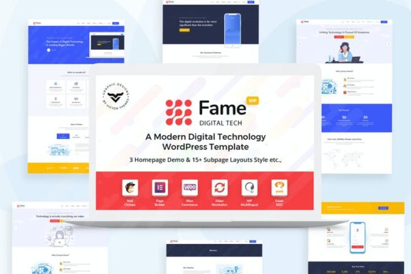 Fame - Digital Technology/Service WordPress Theme 1