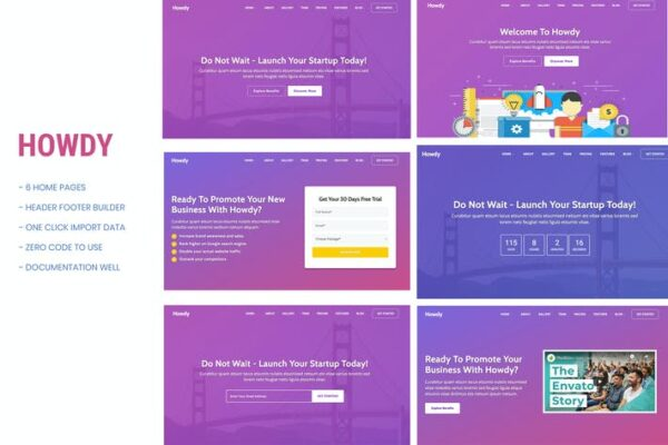 Howdy - Multipurpose Landing Page WordPress Theme 1