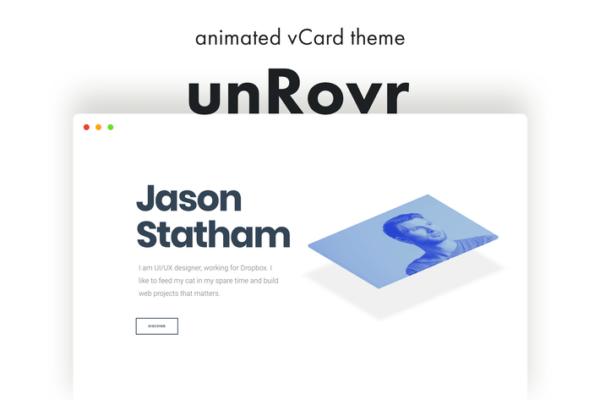 unRovr - Animated vCard & Resume WordPress Theme 1