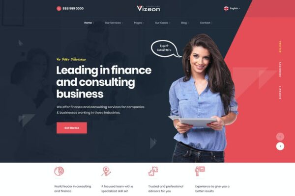 Vizeon - Business Consulting WordPress Themes 1
