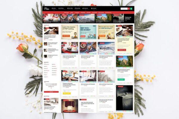 Pin = Pinterest Style Membership News Blog Theme 1