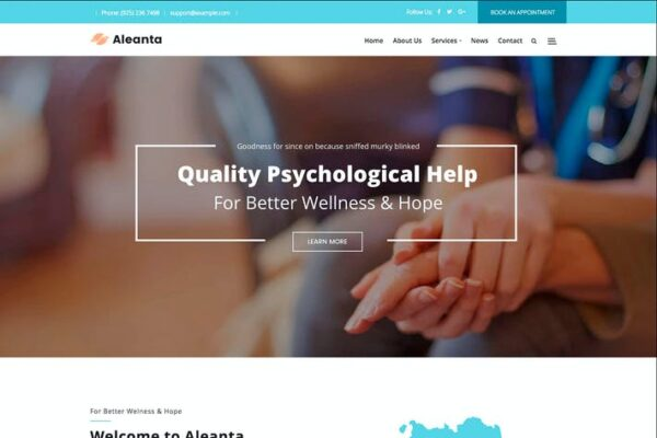 Aleanta - Psychology WordPress Theme 1